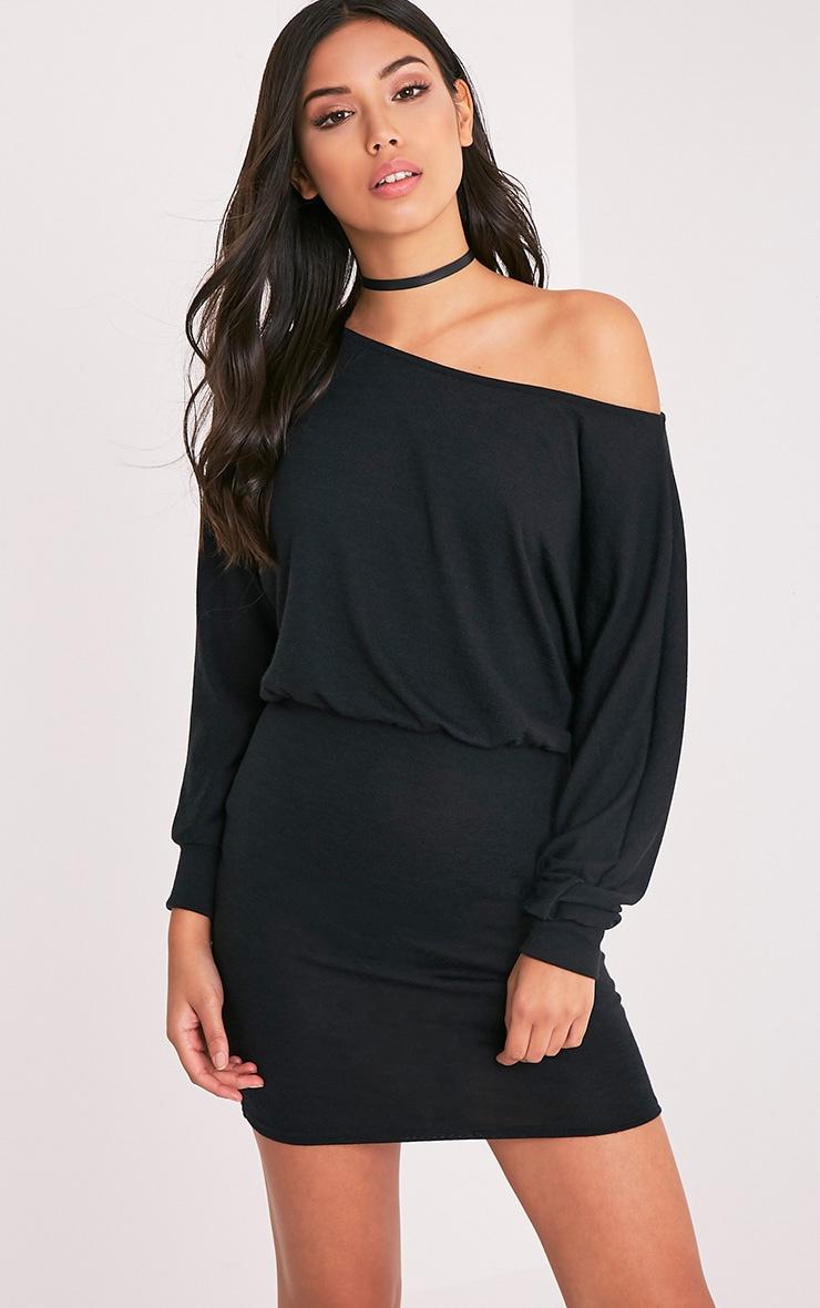 Lerie robe en tricot ajustée à la taille noire 2