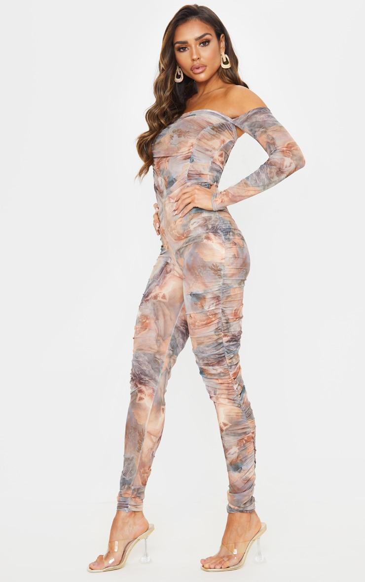 Multi Renaissance Print Mesh Ruched Jumpsuit 4