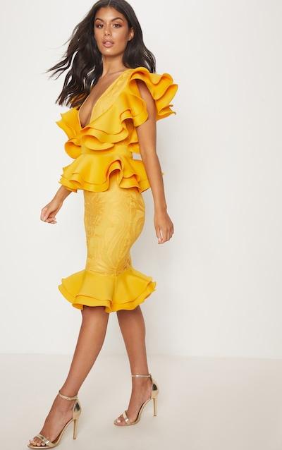 Mustard Ruffle Detail Plunge Midi Dress