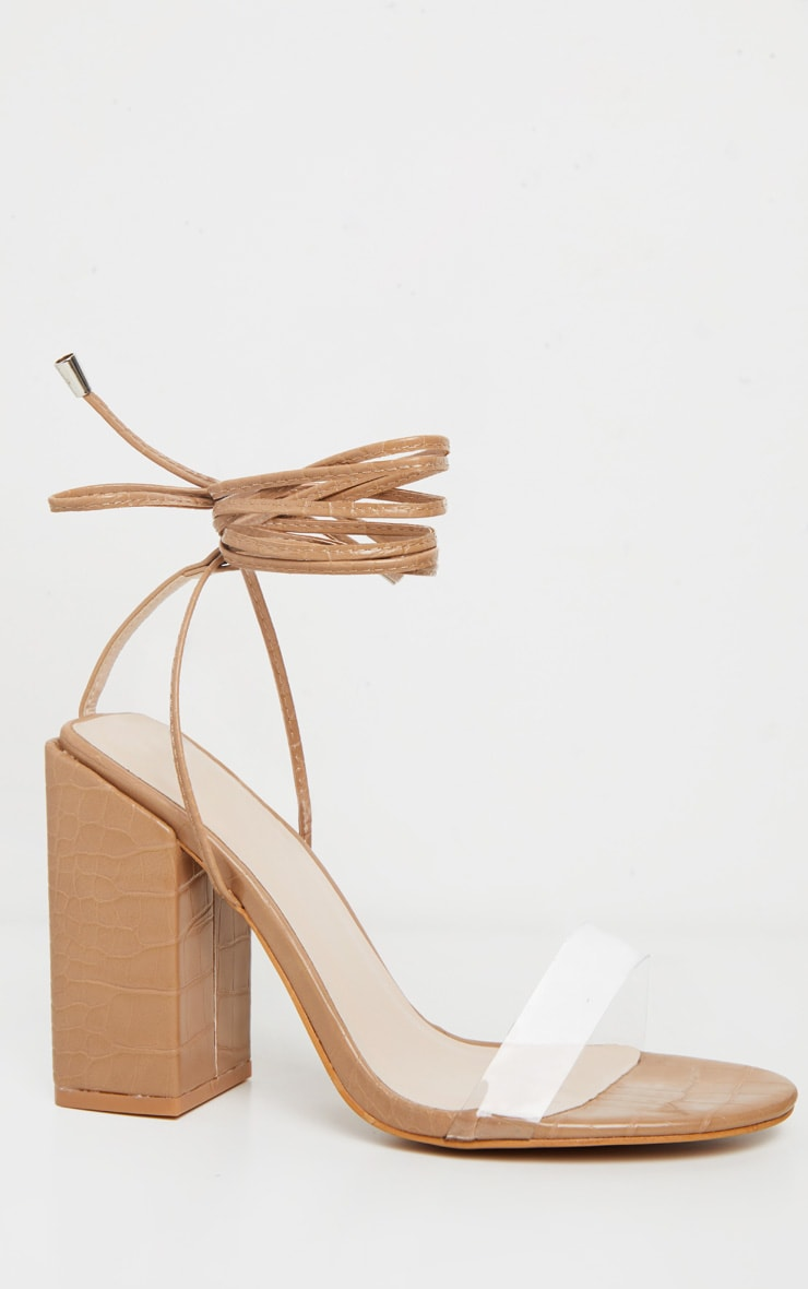 Tan Wide Fit Block Heel Ankle Tie Strappy Sandal 3