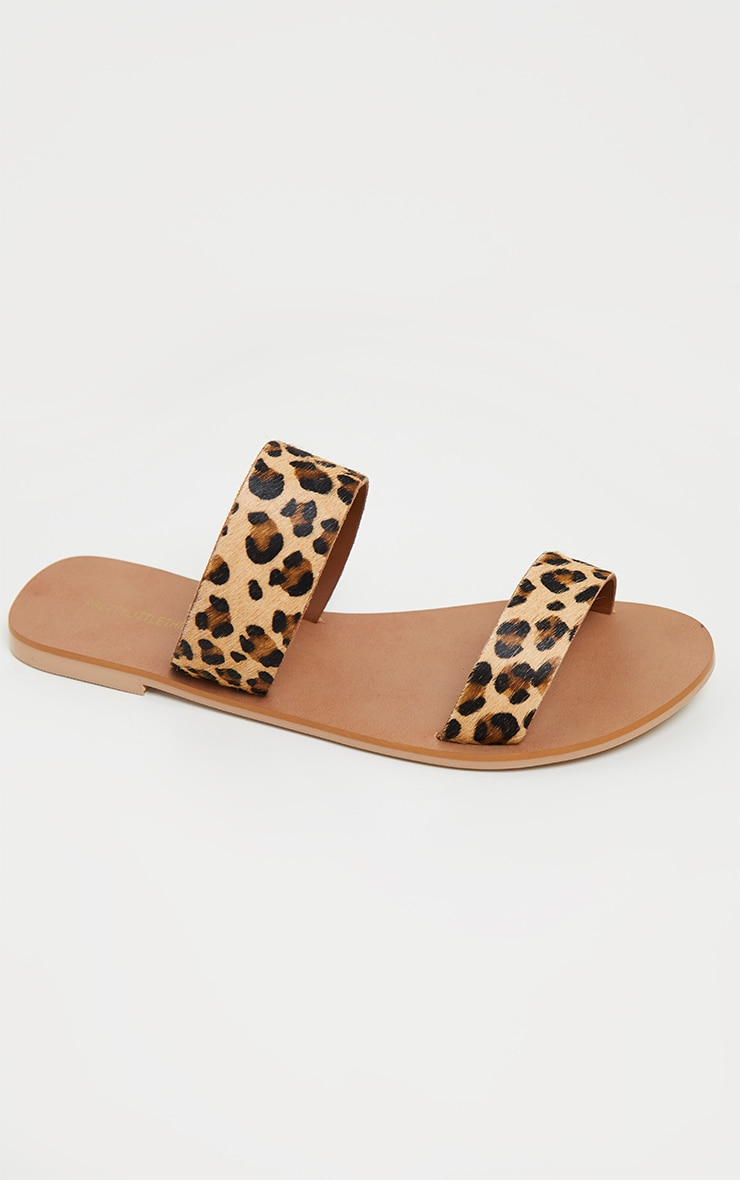 Leopard Twin Strap Basic Leather Sandal 3