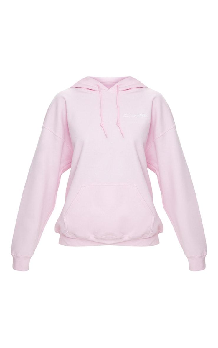 Pastel Pink Summer Nights Slogan Hoodie 3