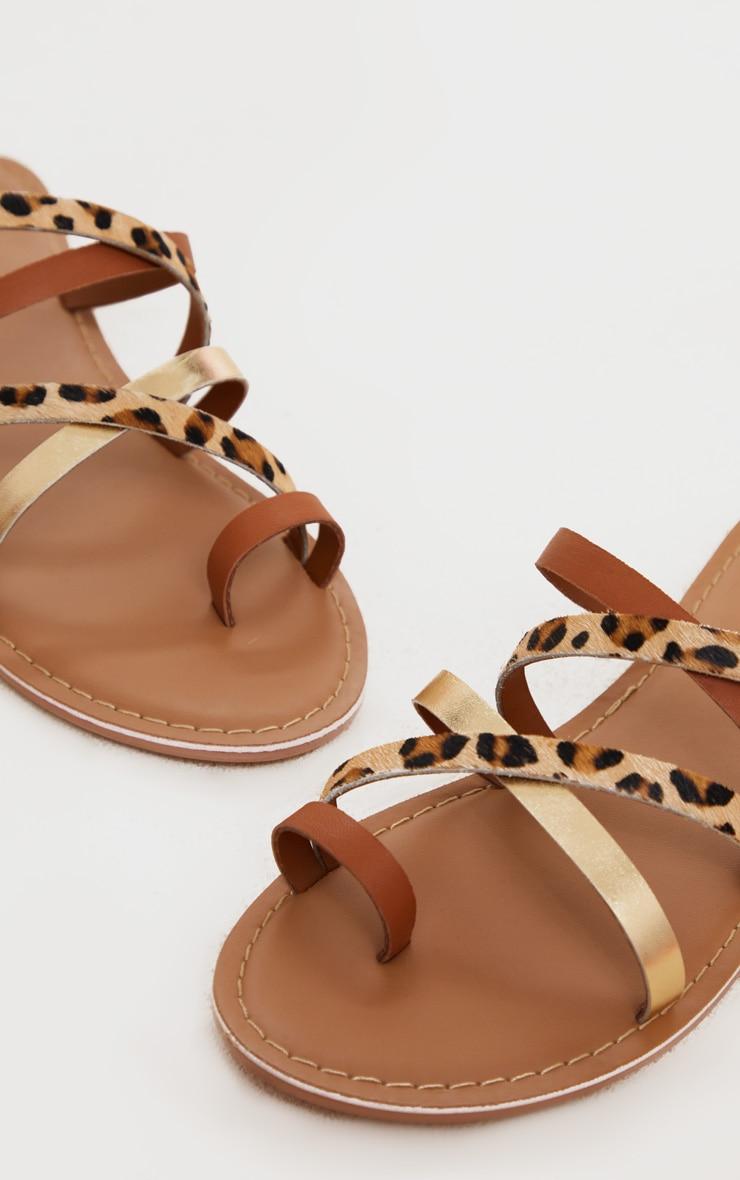 Tan Multi Cross Strap Toe Loop Mule Sandal 4