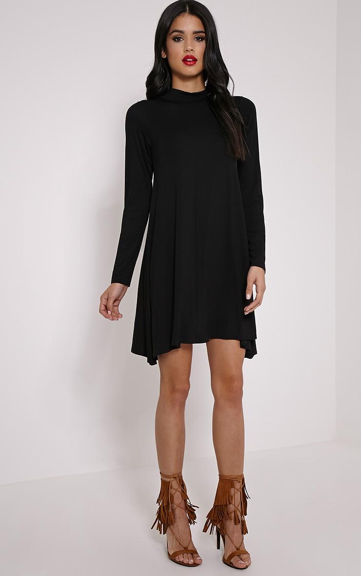 Basic robe trapèze à manches longues en jersey noire 3