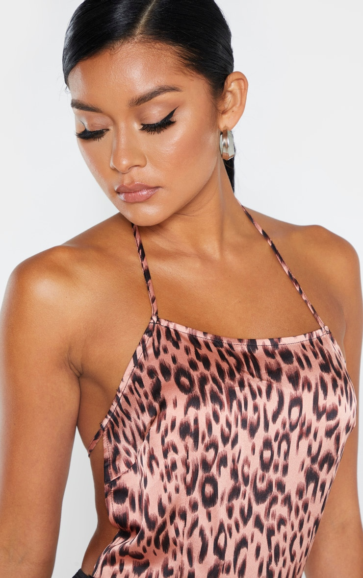 Pink Leopard Strappy Back Satin Bodysuit 6