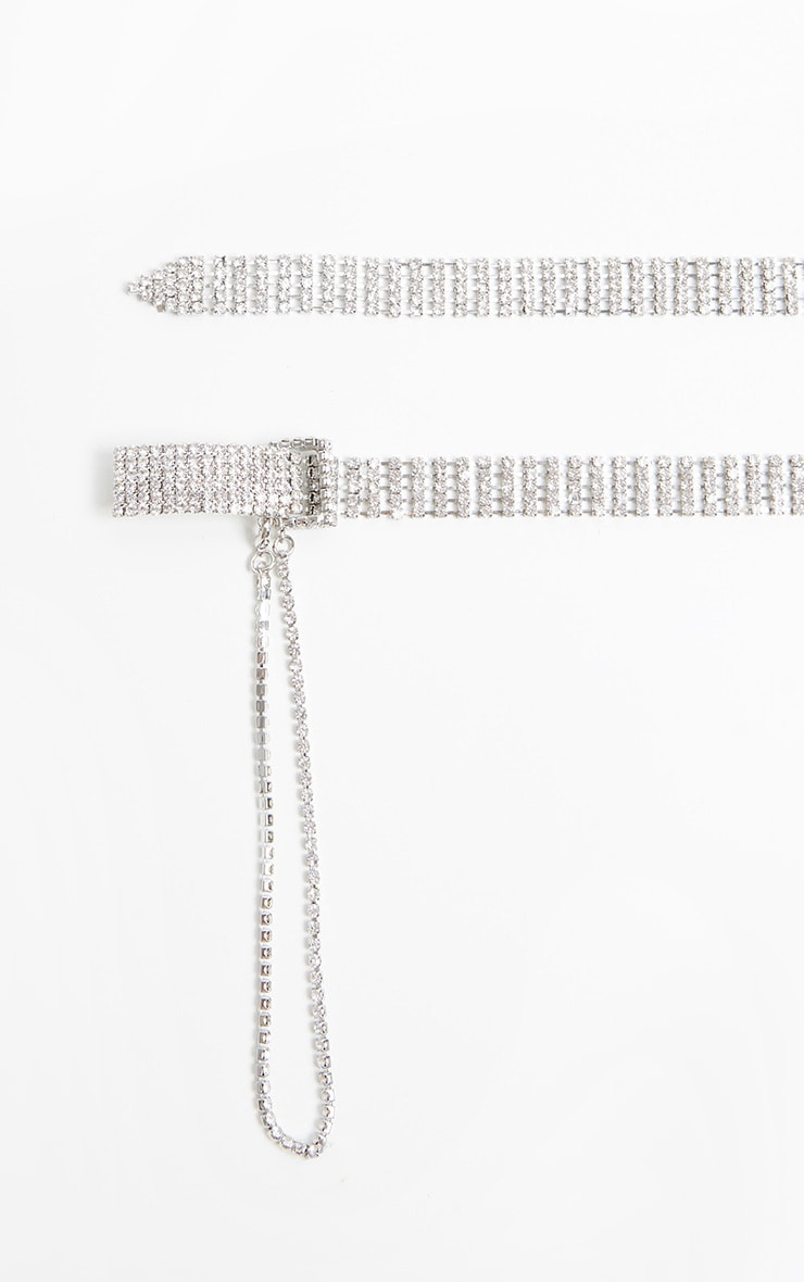 Silver Diamante Chain Link Skinny Belt 2