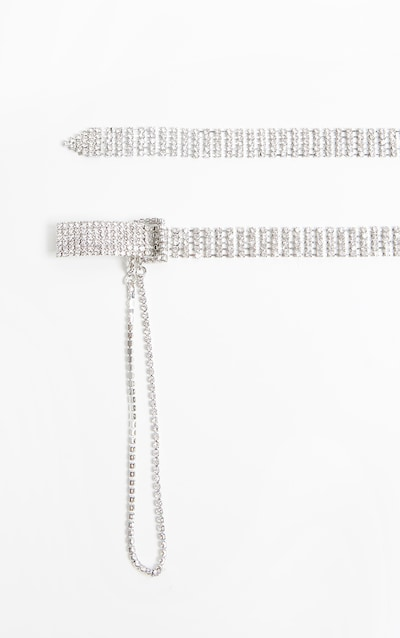 Silver Diamante Chain Link Skinny Belt