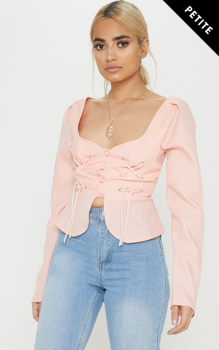 Petite Dusty Pink Long Sleeve Corset Blouse 1