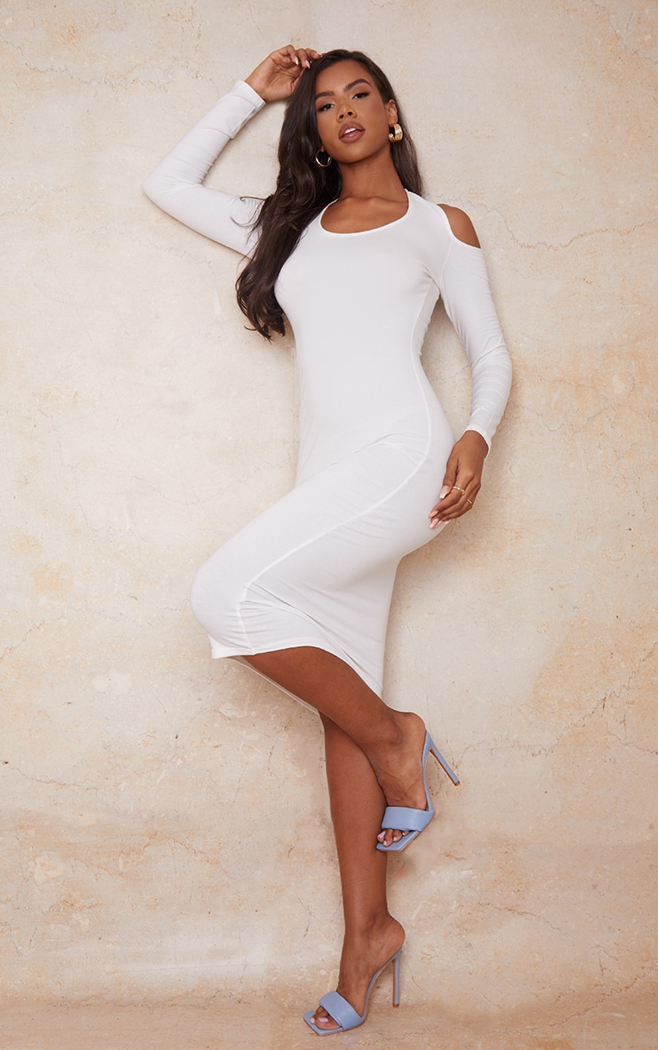 Cream Cotton Halterneck Cold Shoulder Long Sleeve Midaxi Dress 3