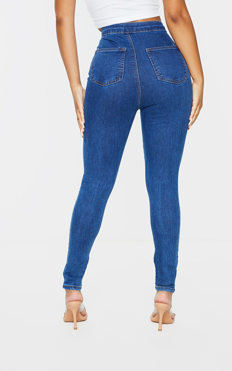 PRETTYLITTLETHING Petite Mid Blue Wash Rip Ripped Disco Skinny Jeans 3