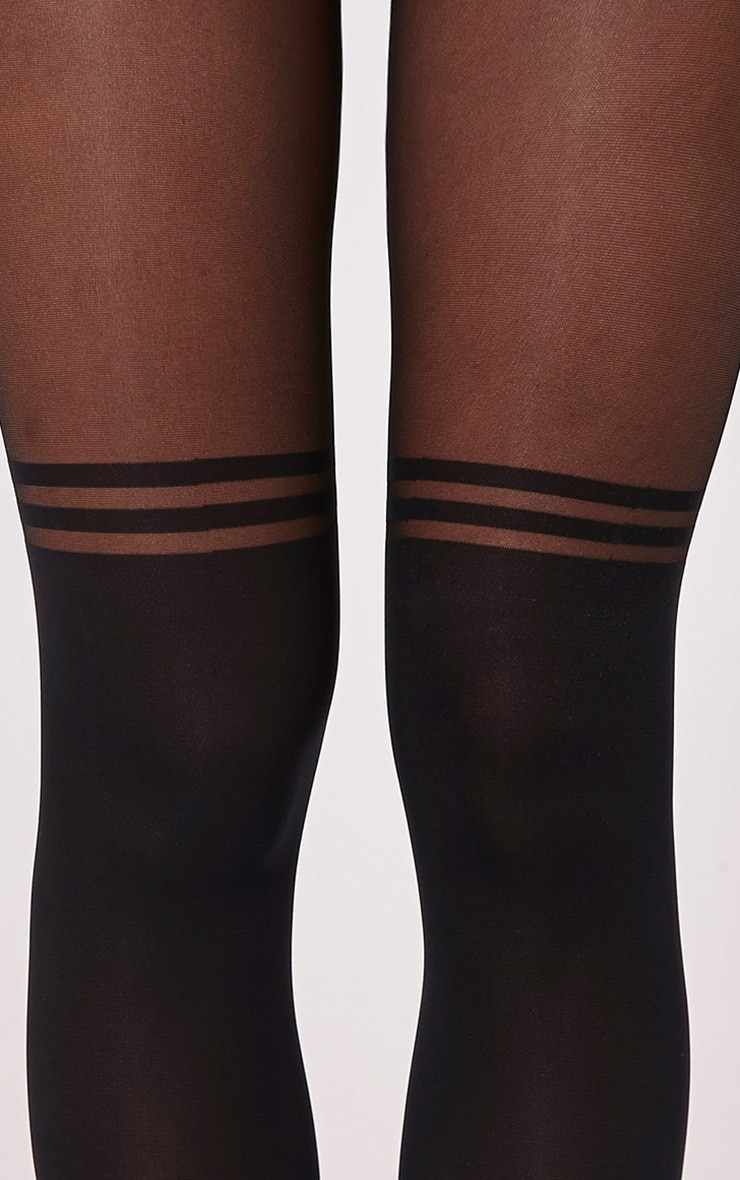 Tanny Black Knee High Style Tights 3