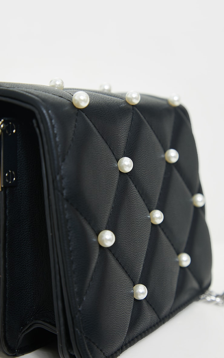 Black Quilted White Pearl Cross Body Bag 4