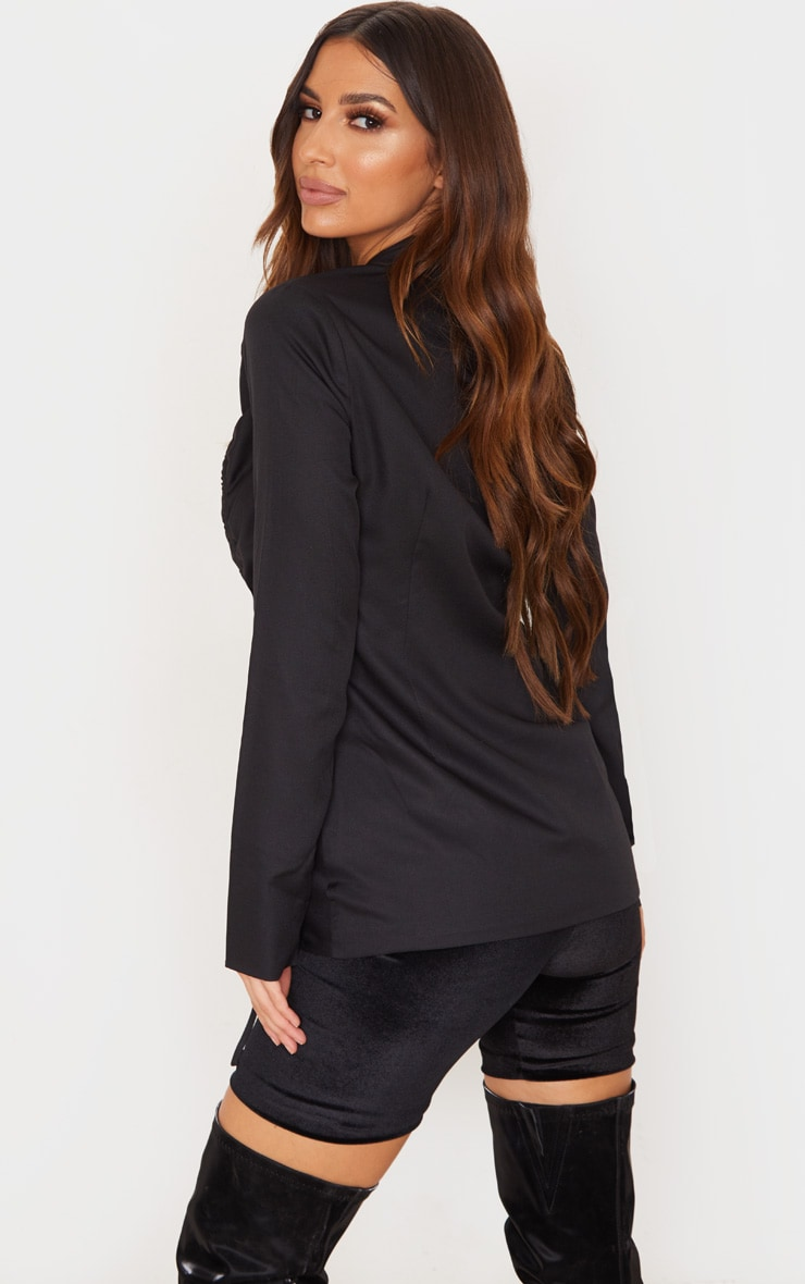 Black Woven Ruched Detail Fitted Jacket 2