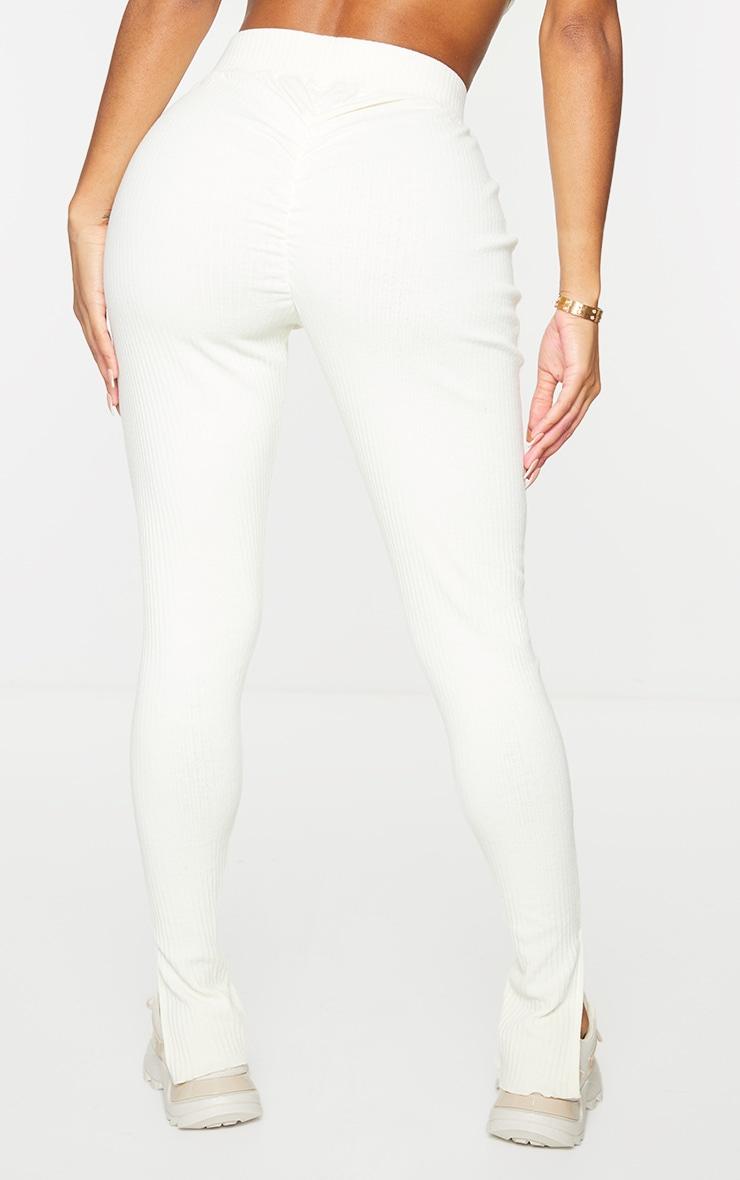 PRETTYLITTLETHING Shape Cream Rib Badge Detail Ruched Bum Leggings 3