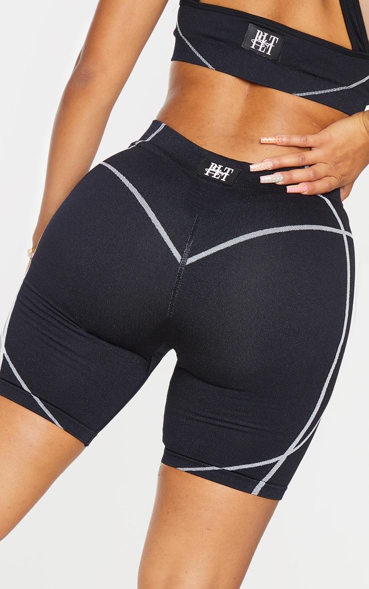 PRETTYLITTLETHING Shape Black Badge Gym Shorts 5