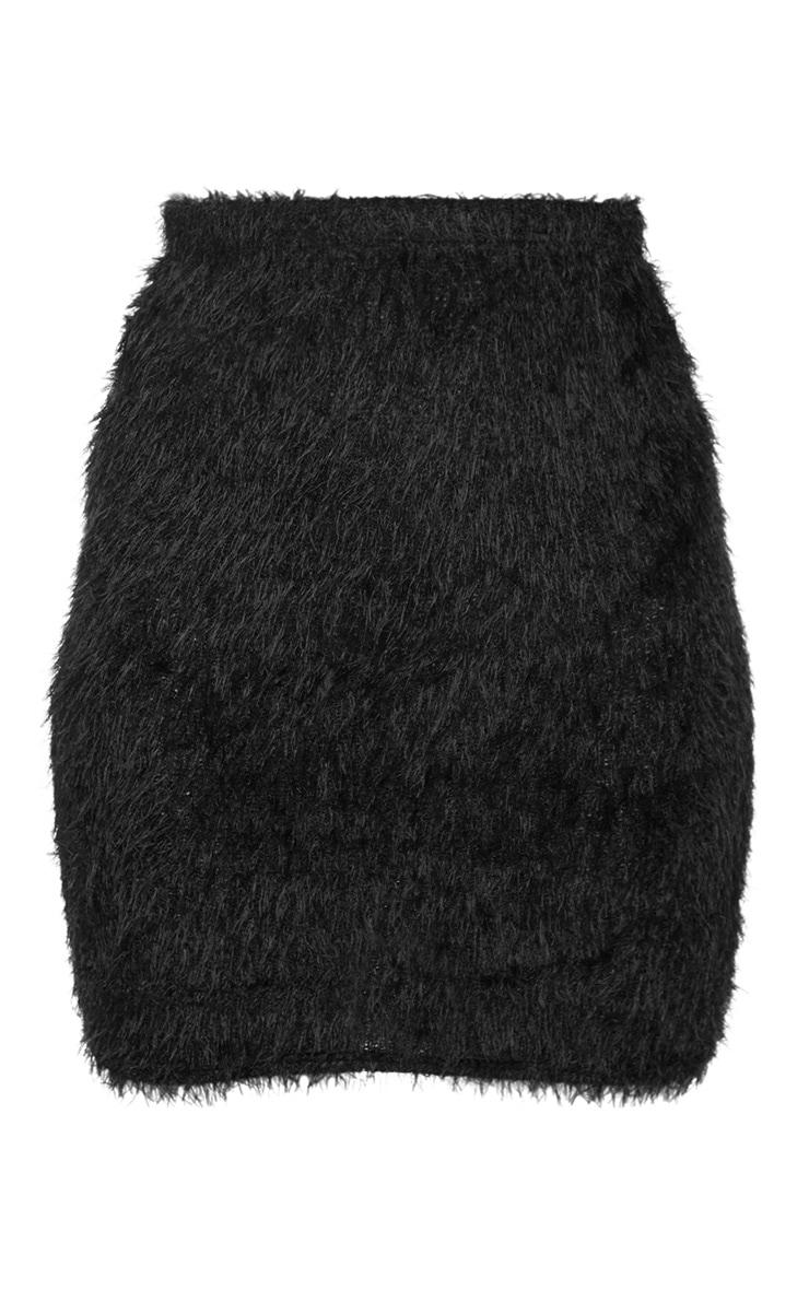 Black Eyelash Bodycon Mini Skirt 3