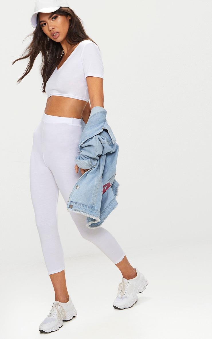 White Basic Cropped Jersey Leggings  1