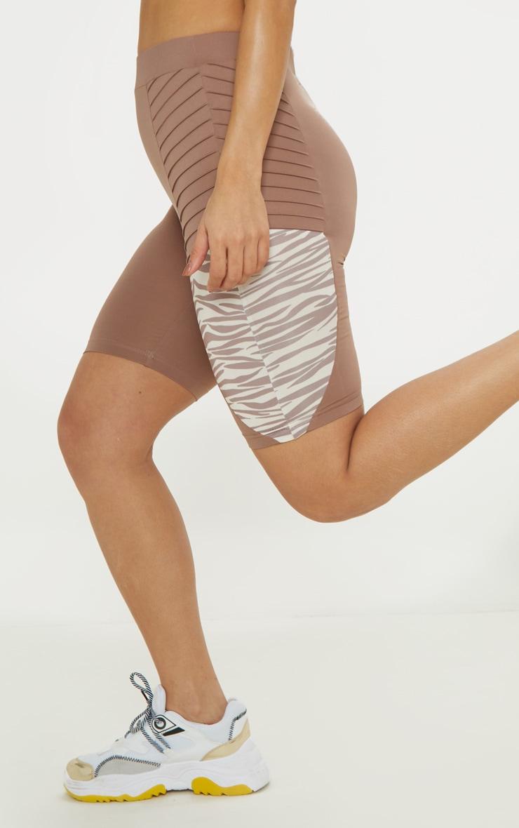 Zebra Ribbed Panelled Cycle Shorts 6