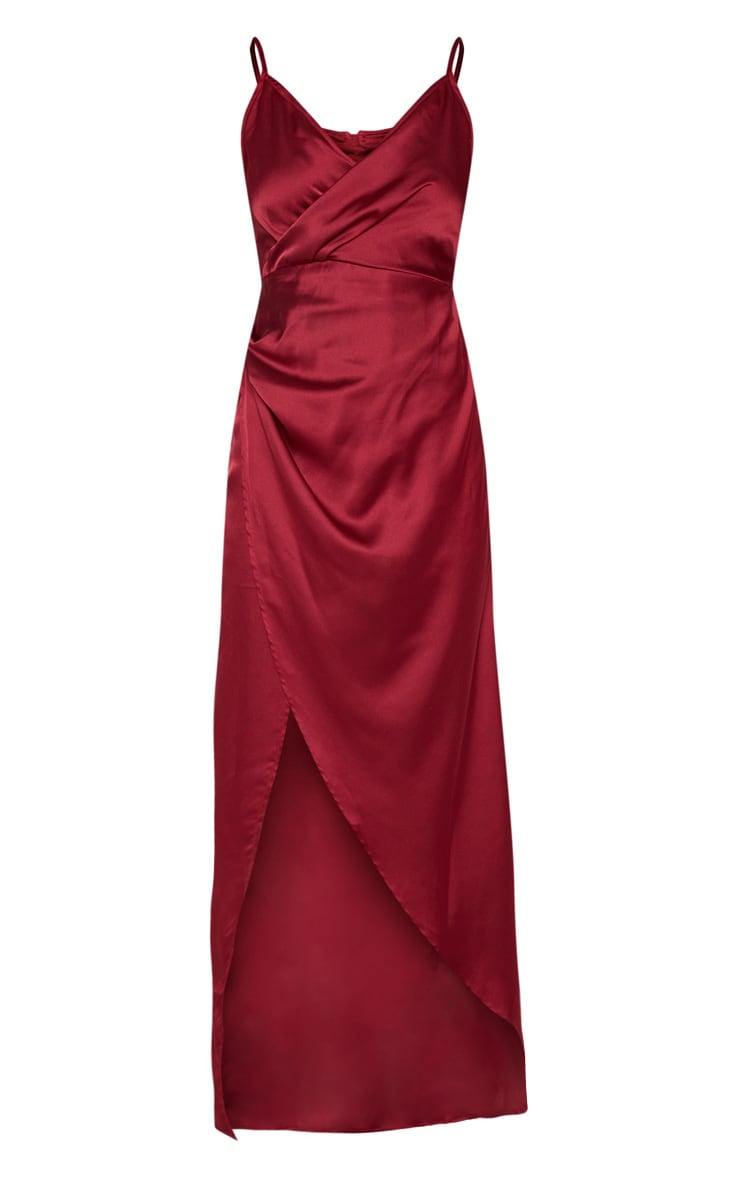 Petite Burgundy Satin Wrap Detail Maxi Dress 3