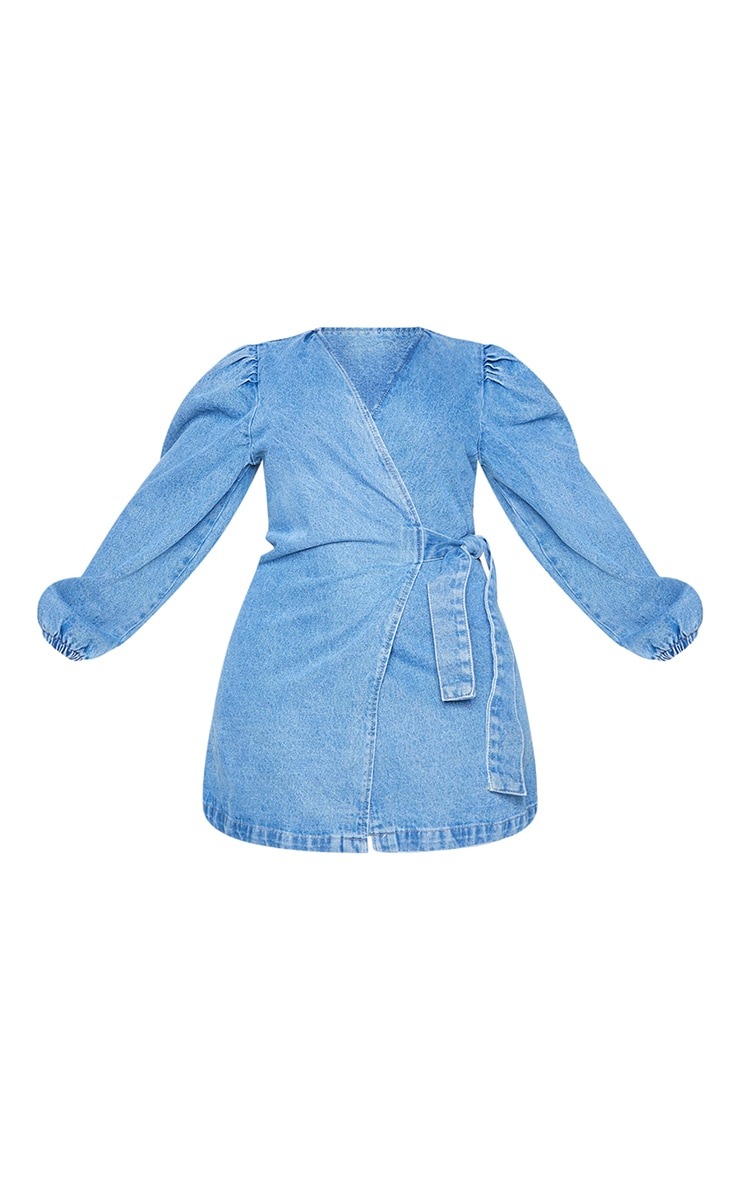 Plus Light Wash Denim Puff Sleeve Wrap Dress 5