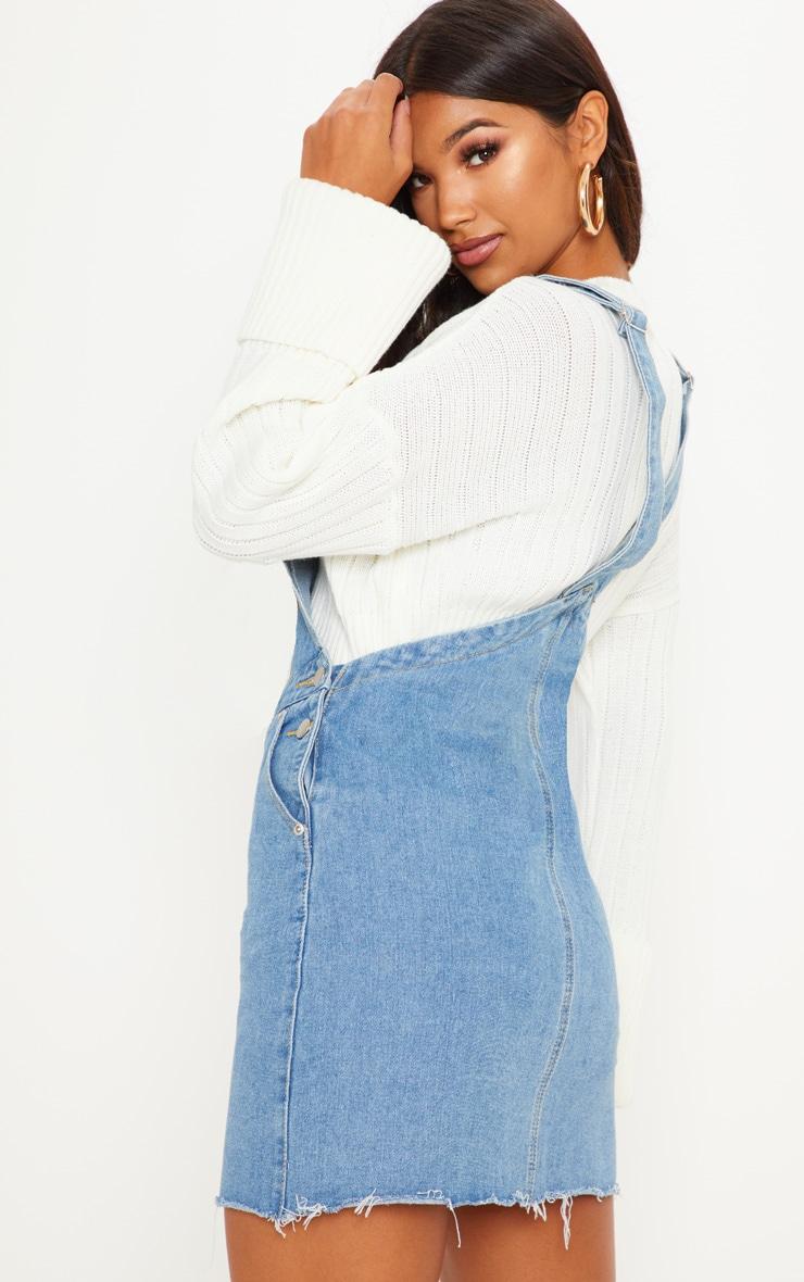 Robe chasuble en jean à délavage moyen et poche devant 2