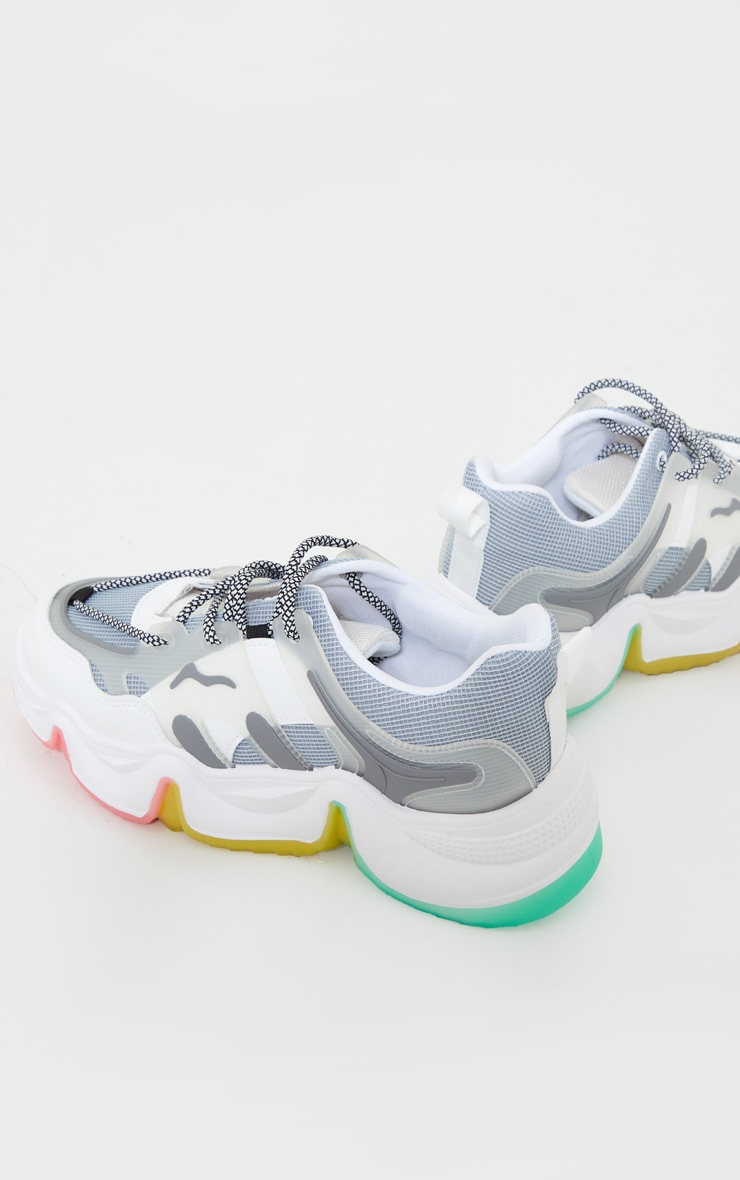Grey Chunky Multi Wave Sole Sneakers 4