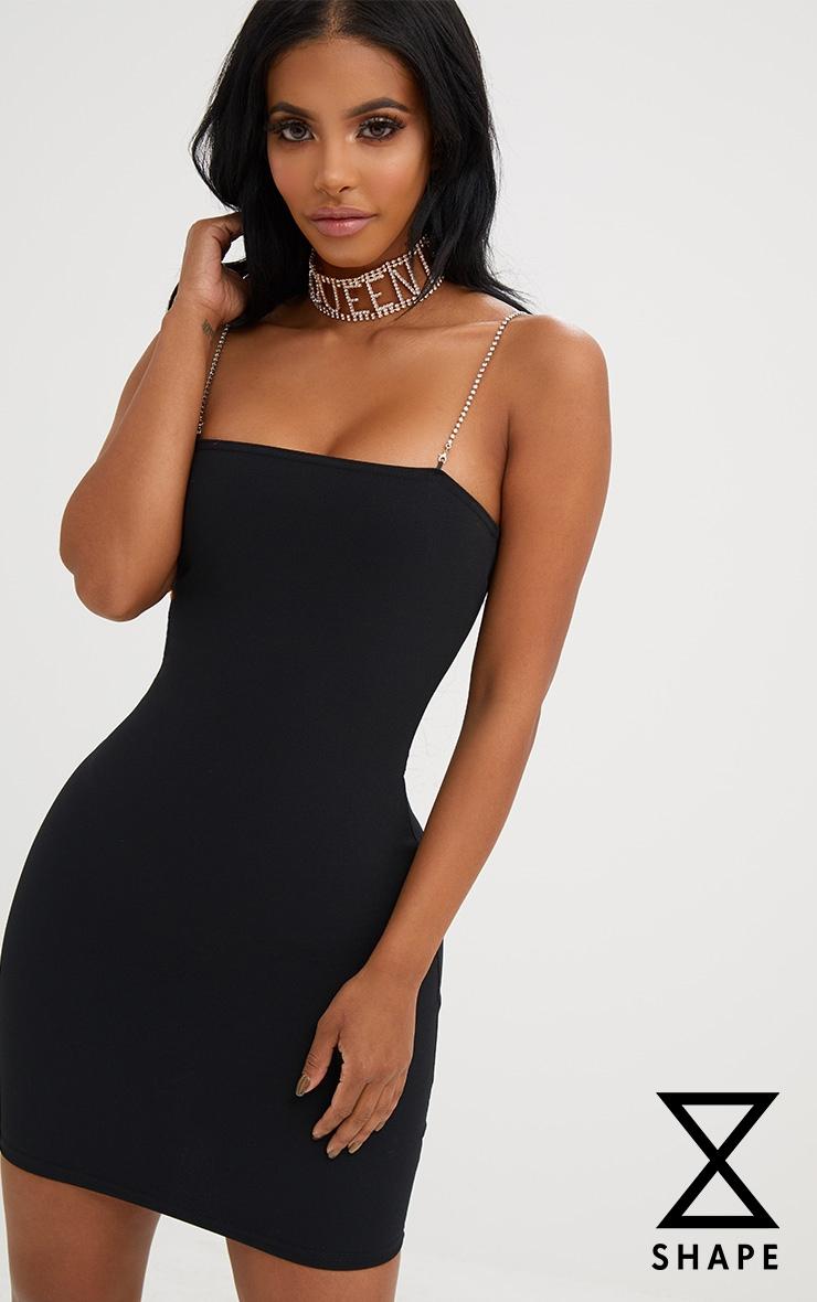 Shape Black Diamante Strap Bodycon Dress