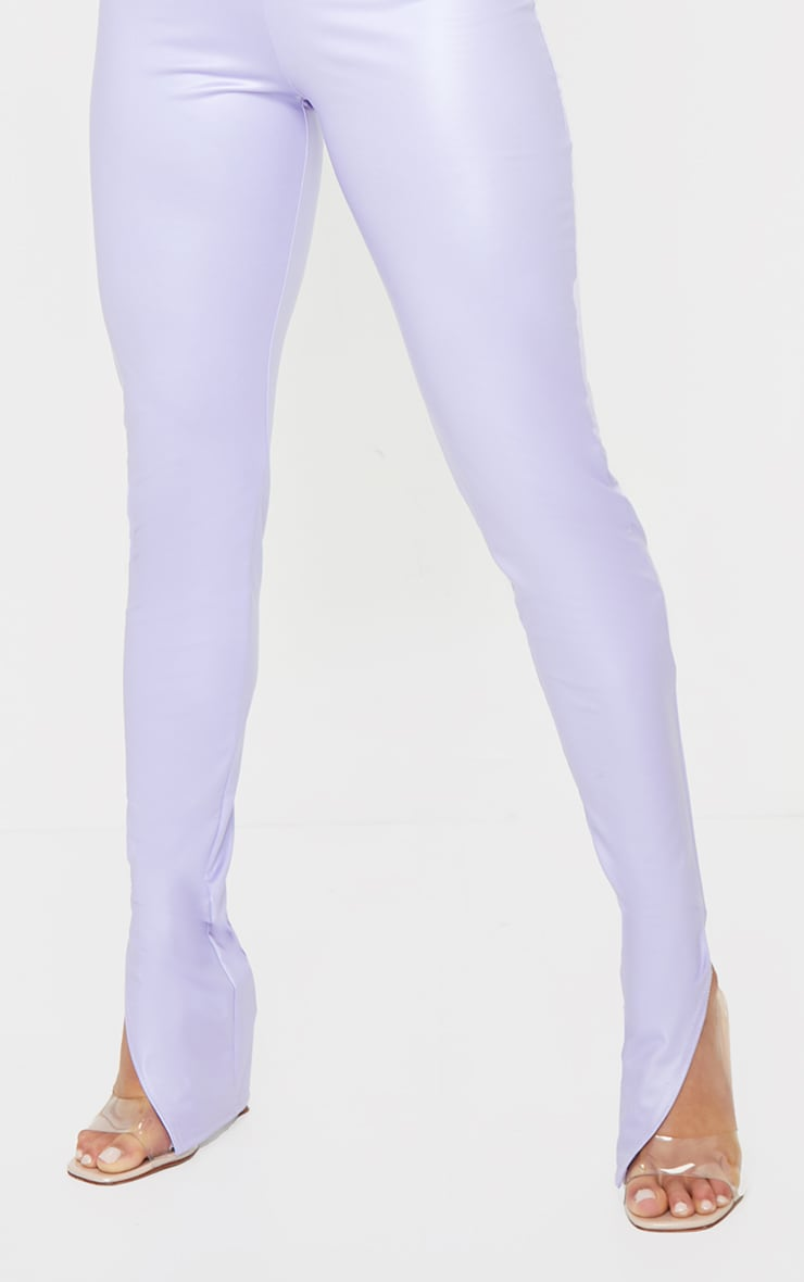 Petite Lilac Split Hem Coated PU Leggings 4