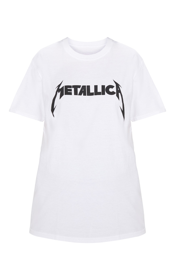 White Metallica Slogan Rock T Shirt  3