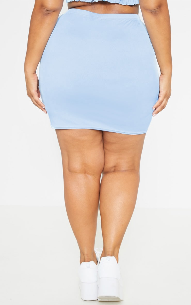 Plus Dusty Blue Split Detail Mini Skirt  4