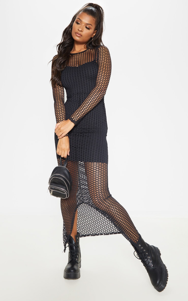 Black Fishnet Long Sleeve Split Maxi Dress 1