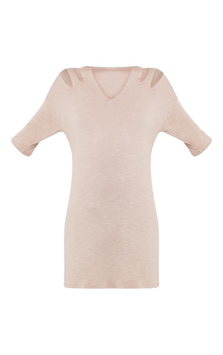 Laviina Taupe Jersey Slashed Cut Out Detail T shirt Dress 3