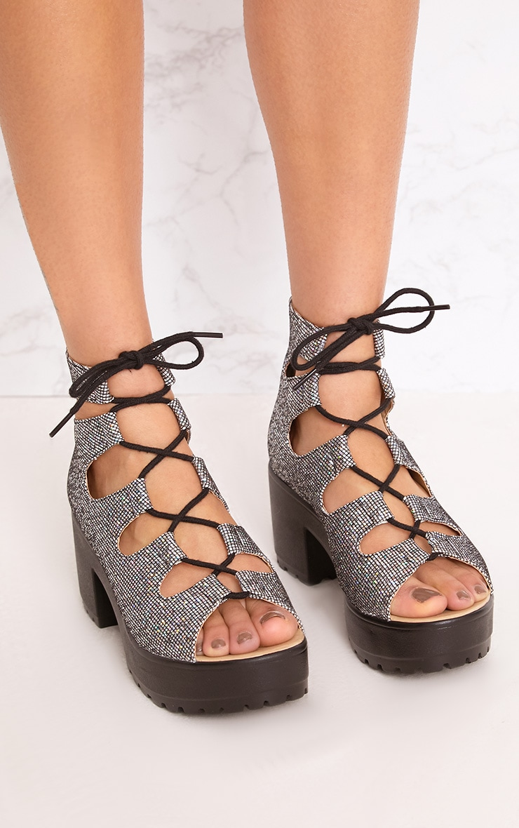 Caprice Black Metallic Lace Up Sandals 1