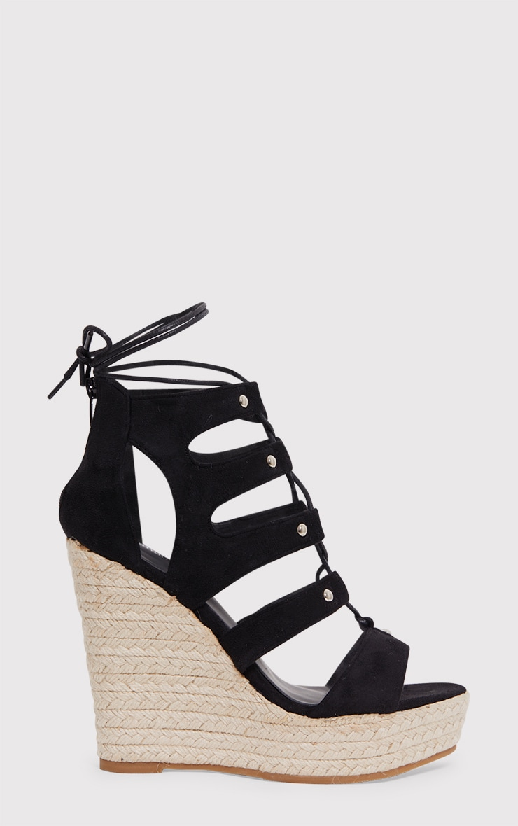 Louisella Black Lace Up Wedges  2