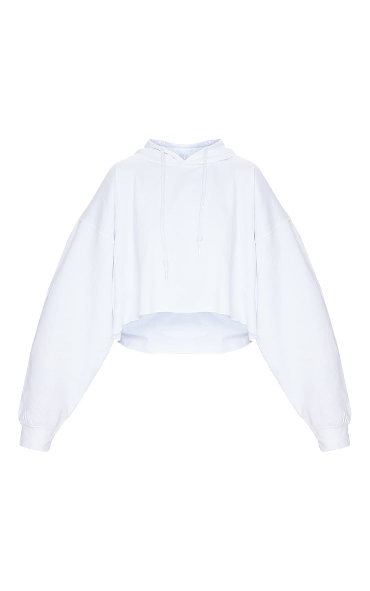 Recycled White Oversized Crop Sweat Hoodie 5