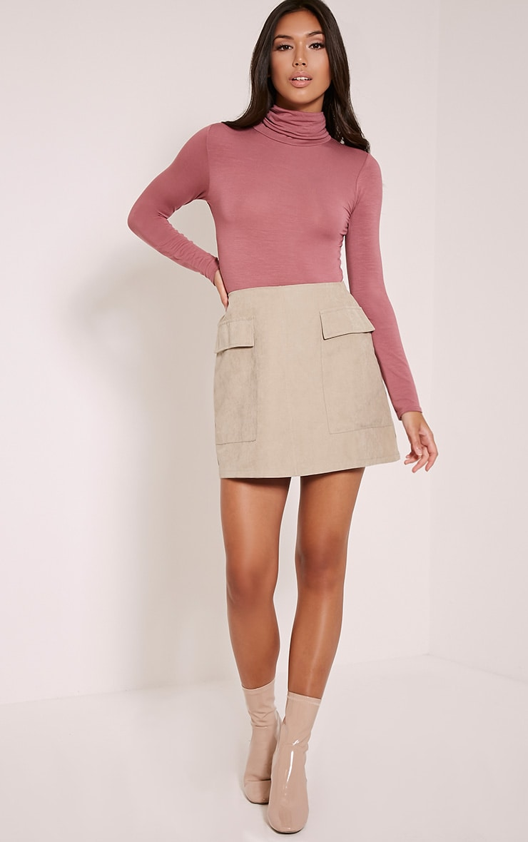 Lottie Stone Faux Suede Pocket Front Mini Skirt 1