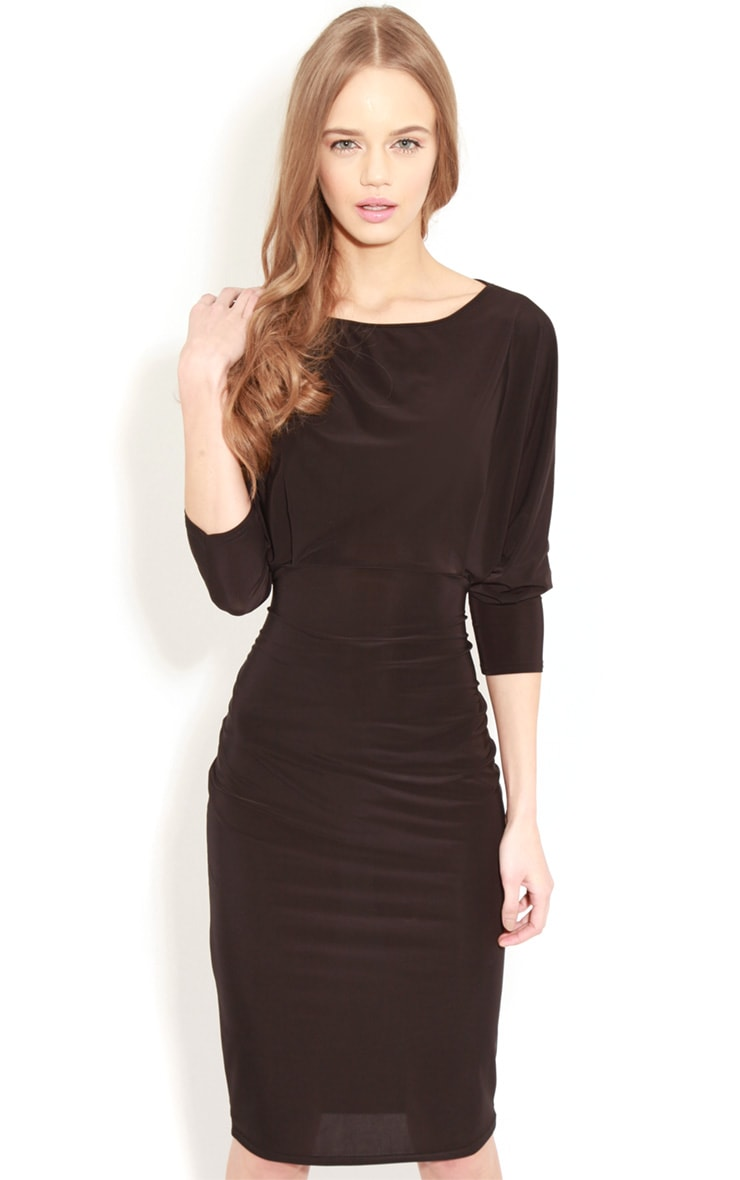 Edan Black Long Sleeve Bodycon Midi Dress  5