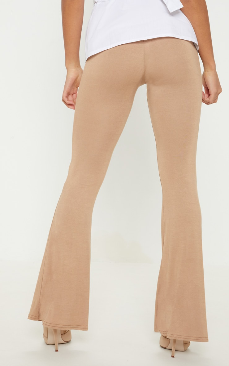 Petite Camel  Basic Flare Leg Pants 4