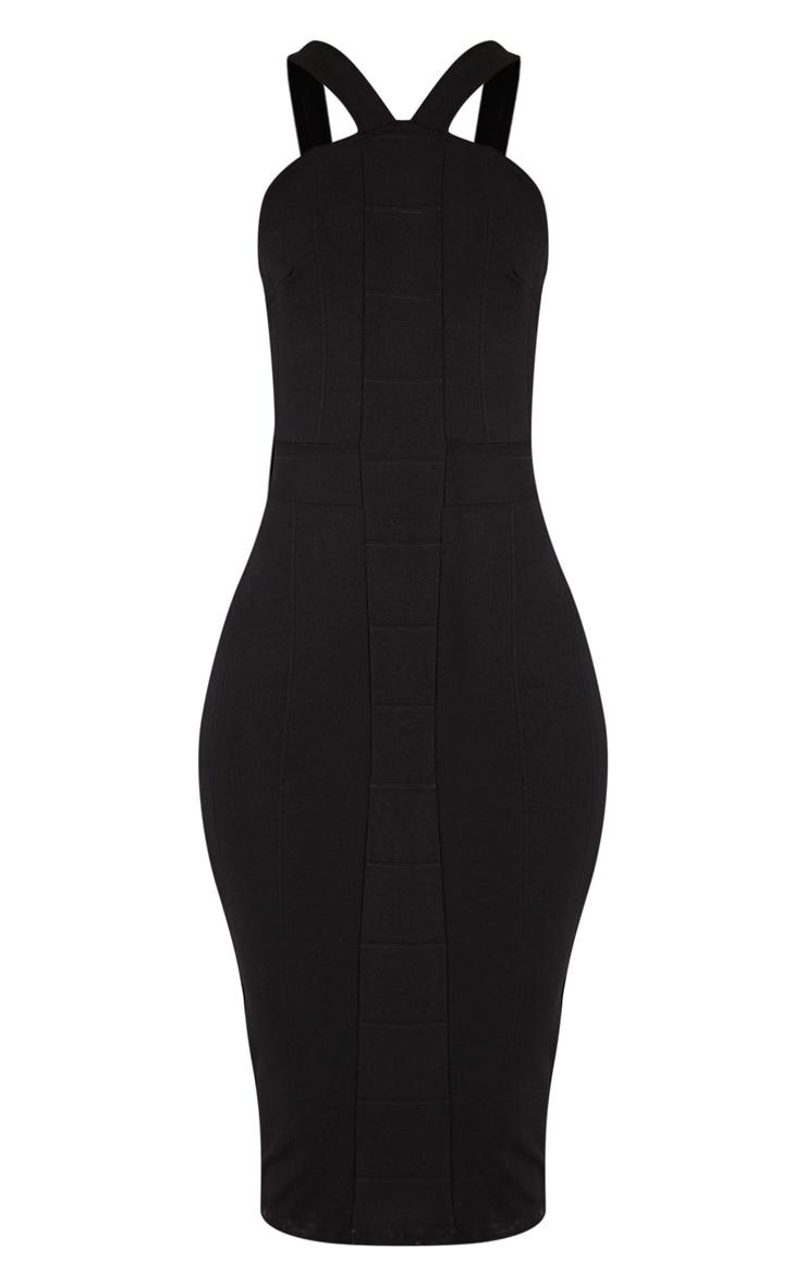 Meryl Black Bandage Strap Detail Bodycon Dress 3