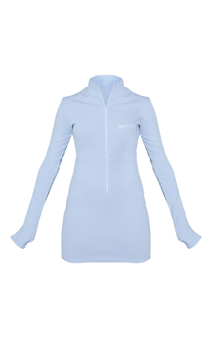 PRETTYLITTLETHING Baby Blue Contrast Zip High Neck Bodycon Dress 5