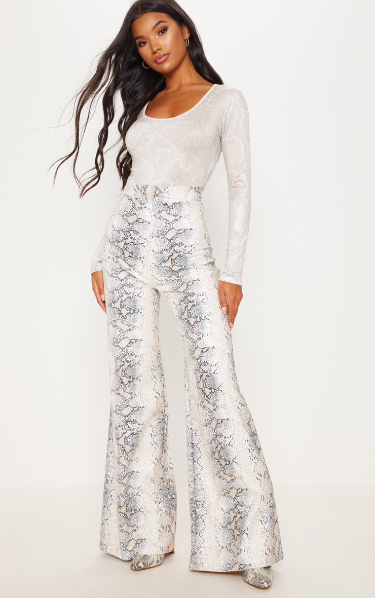 White Faux Leather Snakeskin Print Wide Leg Trouser