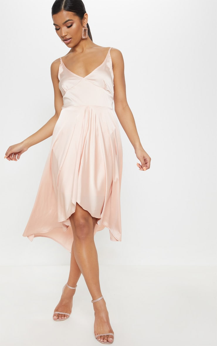Blush Satin Strappy Layered Skater Midi Dress 4