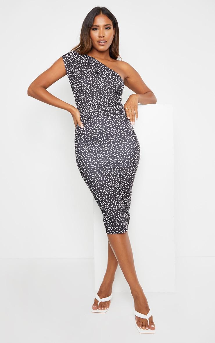 Black Dalmatian Print One Shoulder Ruched Detail Midi Dress 3