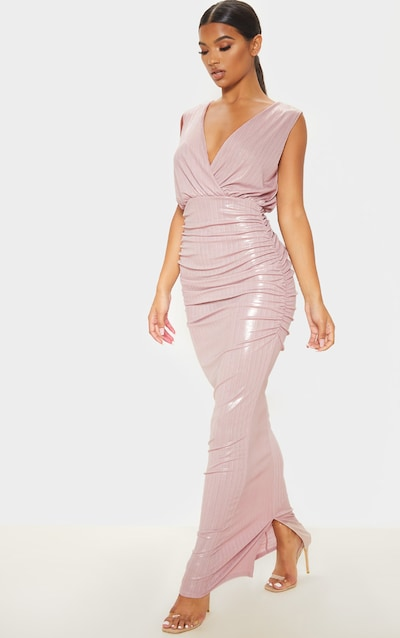 Dusty Pink Shimmer Plunge Drape Maxi Dress