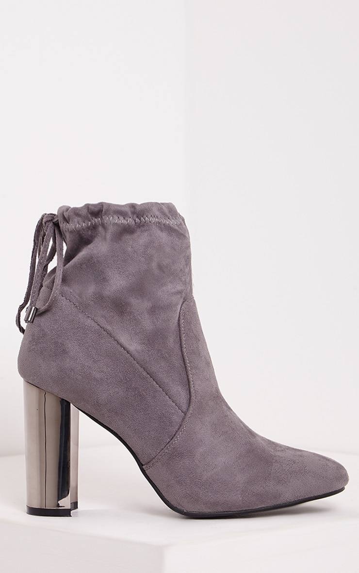 Christal Grey Faux Suede Chrome Heel Ankle Boots 1