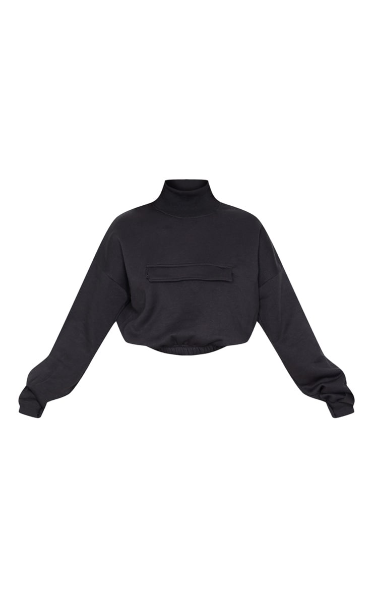 Black Funnel Neck Pocket Front Sweater 3