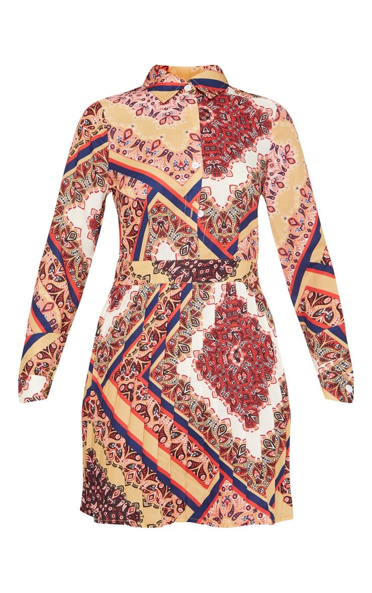Multi Paisley Print Pleated Shirt Dress 3