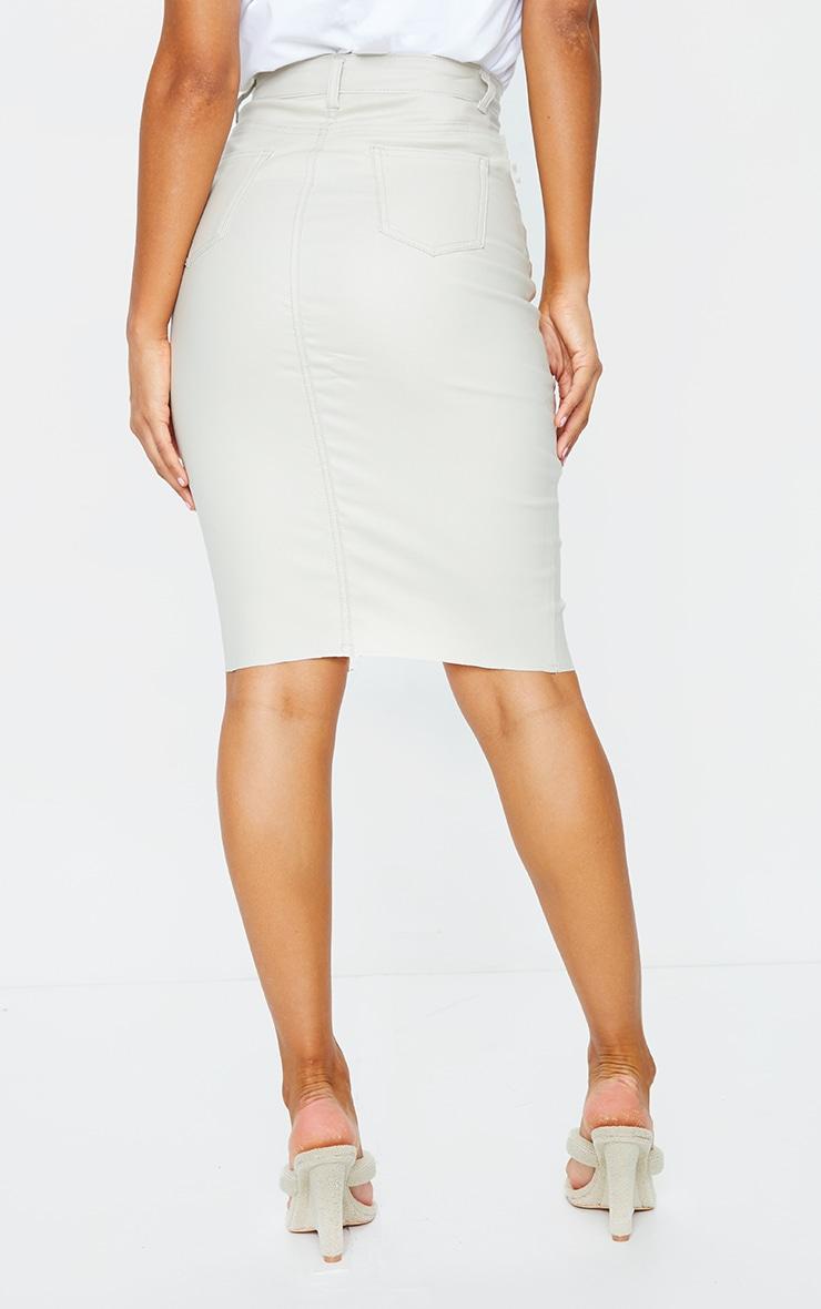 Stone Coated Denim Midi Skirt 3