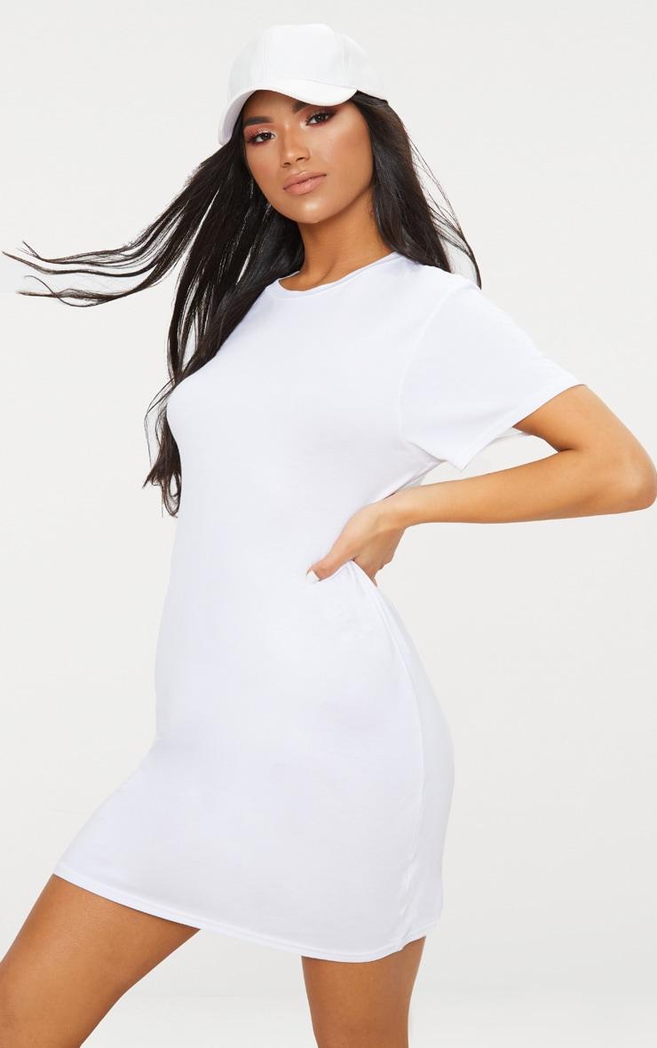 Recycled White Short Sleeve Basic T Shirt Dress 3