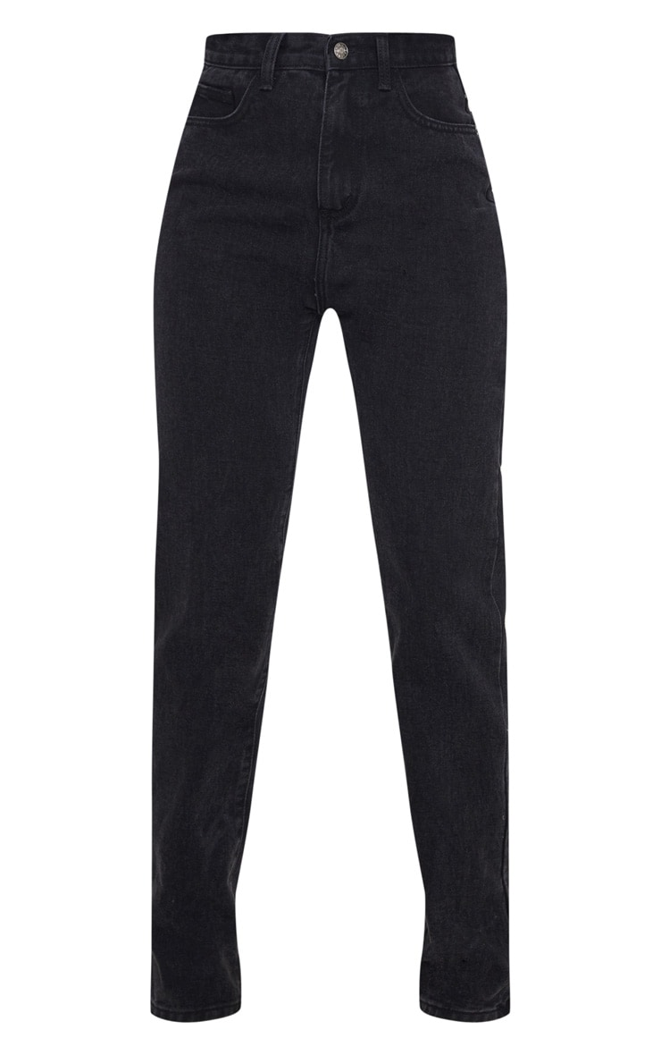 Washed Black Long Leg Straight Jeans 3